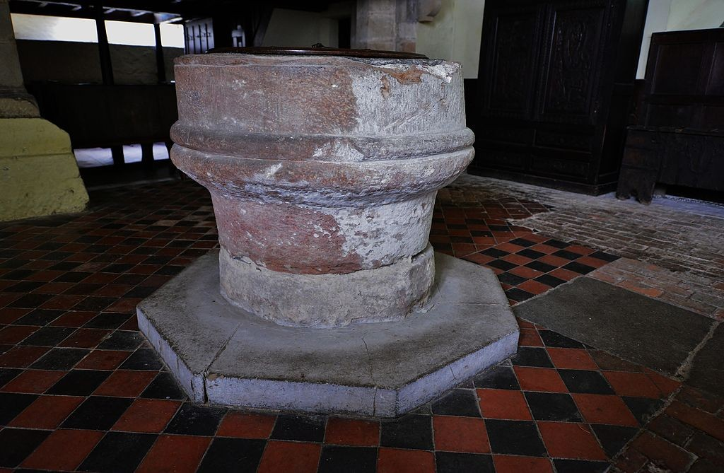 A Roman capital reused as a font at St Andrew's Church, Wroxeter